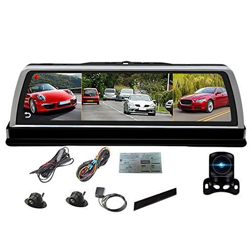 RETYLY Consola Central de Coche de 10 Pulgadas con Espejo Dvr Dashcam 4G 4 Canales Adas Android GPS WiFi Fhd 1080P Lente Trasera Grabadora de Video