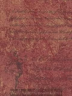 5813265 SAMPLE 8x10 INCHES Tuscan Red Script Village Paper Illusions QVC Wallpaper Torn Faux Finish Wallpaper Illusion PaperIllusion SAMPLE