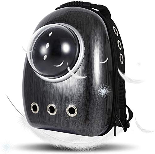 Dulcii Pet Carrier,Cat Dog Puppy Travel Hiking Camping Pet Carrier Backpack, Space Capsule Bubble Design,Waterproof Soft-Sided Handbag Backpack for Cat and Small Dogs Mutil Colors to Choose (Black)