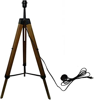 Decoluce Tripod Floor Lamp - Mid Century Modern Standing Light for Contemporary Living Rooms - Wood Legs for Bedroom, Office (Brown)
