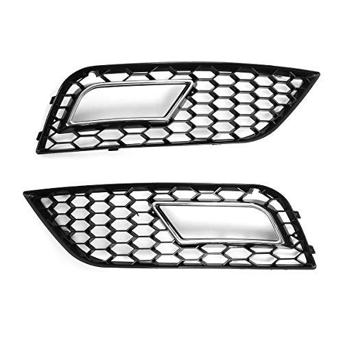 OutdoorKing Parrillas Compatible para Audi A4 B8.5 2013 2014 2015 2016 A4 B8.5 Parrilla De Luz Antiniebla Parachoques Delantero De Coche Parrilla De Luz Antiniebla (Color : Plata)