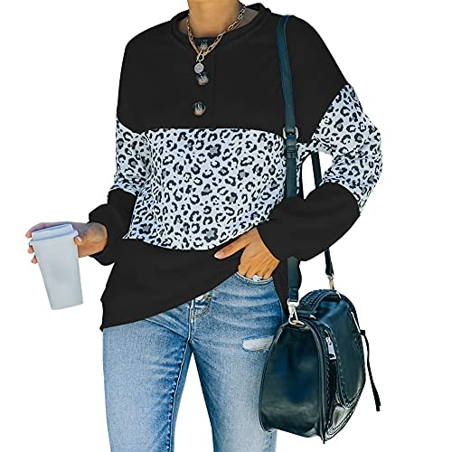 Women's Round Neck Long Sleeve Pullover Sweatshirt,Womens Patchwork Tops (Color : Black, Size : X-Large)