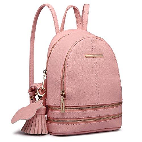 Miss Lulu Rucksack Daypack Damen Tasche Umhängetasche Rucksackhandtaschen Pu Leder Wasserdichte Schulrucksäcke Schultasche Kleine Geldbörse (Pink)