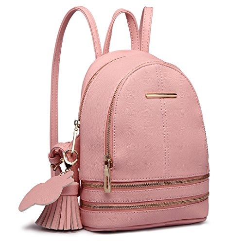 Miss Lulu Women Fashion Backpack Casual Small Saffiano PU Leather Waterproof Rucksack Mini Shoulder Bags (Pink)