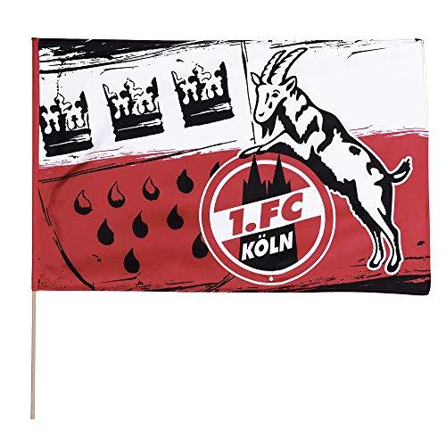 Flaggenfritze Stockflagge 1. FC Köln Wappen - 60 x 90 cm + gratis Aufkleber