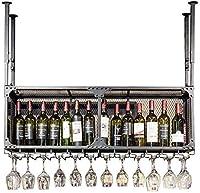 S-TING ワインホルダー 120センチメートル、ワインボトルは、ワインボトルとグラスホルダー壁飾り枠をぶら下げラック 置物 実用的 室内装飾