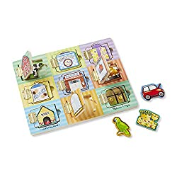 MAGNETIC PUZZLE BOARD: The Melissa & Doug Hide & Seek Board is an exciting magnetic puzzle board with hinged doors that includes 9 doors and magnets. OPENING & CLOSING DOORS: Features opening and closing doors that reveal a cow, a cookie, a car, and ...