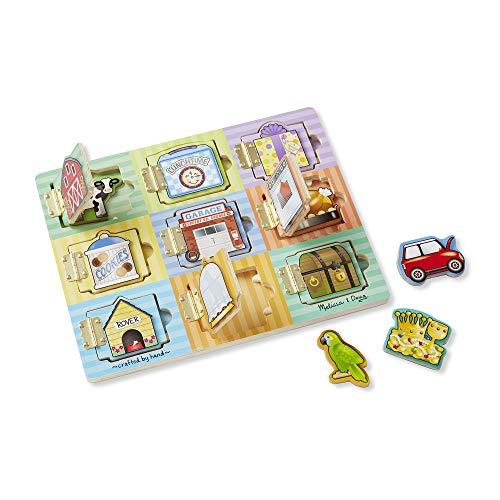 Melissa & Doug| Planche Cache | 9 Volets et 9 Magnets à découvrir | Jouet en bois | 2+ ans | Pour garçon ou fille