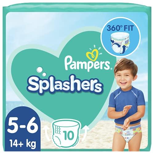 Pampers Pañales de bebé tamaño 5 (14 kg + kg / 30 libras), pantalones de natación con salpicaduras, 80 unidades, paquete de ahorro, no se hincha en el agua