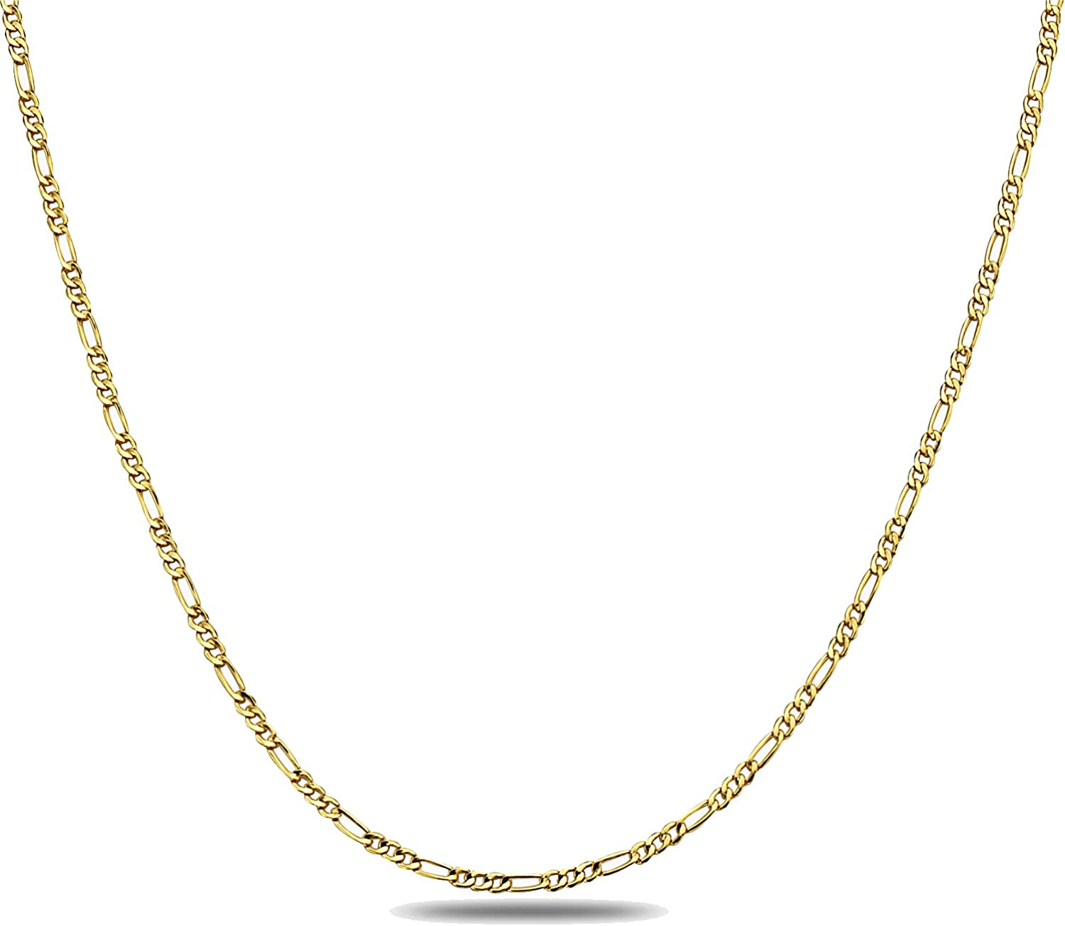 14K Gold 2.0mm Figaro/3+1 Link Chain Necklace- Made in Italy - Multiple Colors and Sizes