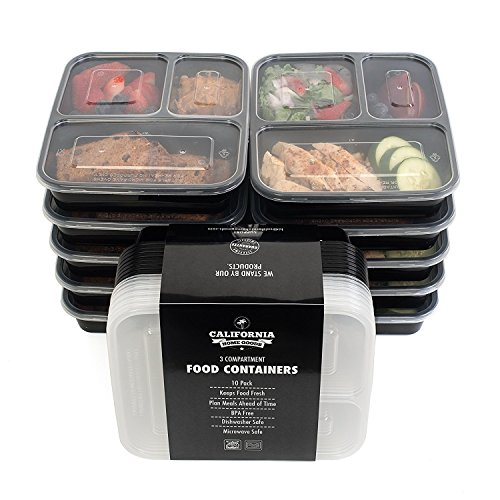 California Home Goods 3 Compartment Reusable Food Storage Containers with Lids, Microwave and...