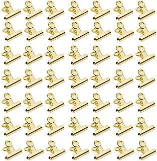 60pcs Petits trombones de bouledogue, pinces à charnière en métal, pinces de papier, pince photo metal,Bureau Binder Clips...