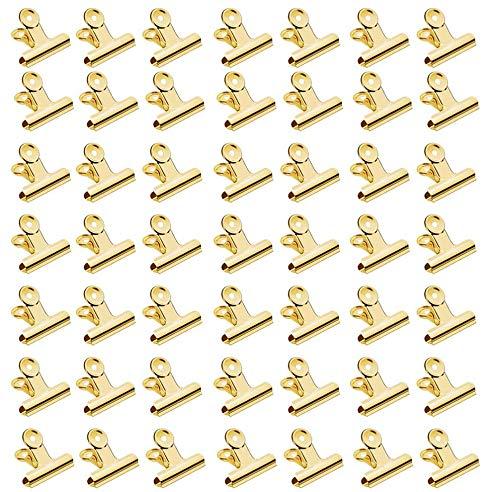 Pinzas para Etiquetas, Bulldog Bisagra Clips, 60 Pack Clips de Bisagra 22mm Mini Clips de Metal Para Fotos, Bolsas Para Comida, Inicio de Cocina, Suministros de Oficina (Dorado)