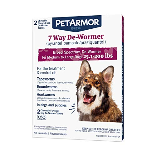 PetArmor 7 Way De-Wormer (Pyrantel Pamoate and Praziquantel) for Dogs, Includes Chewable Flavored Dog De-Wormer Tablets for Medium and Large Dogs Greater than 25 Pounds ( Packaging May Vary )