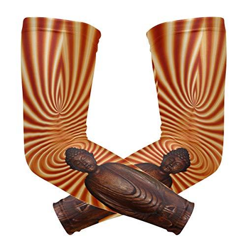 FANTAZIO manga del brazo codo mangas abstractas Buda meditación UV protección solar brazo enfriamiento codo compresión