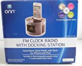 ONN FM Clock Radio with Docking Station - Dual Alarm Clock with Dock
