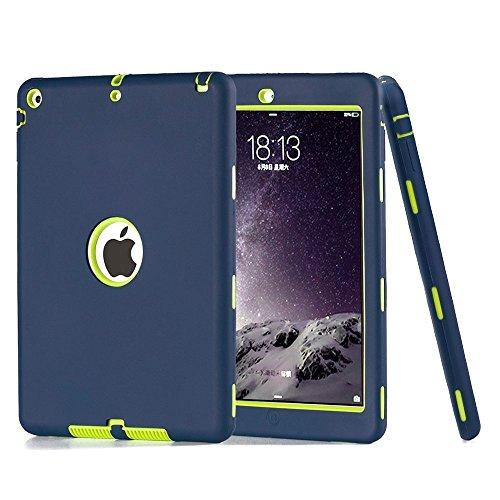 TKOOFN PC + Silicona Híbrido Funda Carcasa Cubierta Caso diseñdo para Apple iPad Air + Forro de Limpieza + Protector de Pantalla + Stylus - A Prueba de Golpes - Verde Oscuro + Amarillo Verde