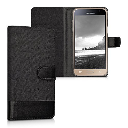 kwmobile Wallet Hülle kompatibel mit Samsung Galaxy J3 (2016) DUOS - Hülle Kunstleder mit Kartenfächern Stand in Anthrazit Schwarz