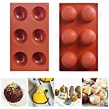 6 Holes Semi Sphere Silicone Molds, Baking Molds for Making Hot Chocolate Bomb, Cake, Jelly, Dome Mousse,BPA Free Cupcake Baking Pan(2 pack)