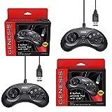 Retro-Bit Official Sega Genesus USB Controller Bundle for Sega Genesis Mini, Switch, PC, Mac, Steam, RetroPie, Raspberry Pi - USB Port- Black