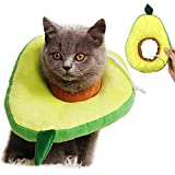 MOMOK Adjustable Cat Recovery Collar Soft Cone for Cats Kitten Kitty Small Dogs Puppy Cute Fruit Avocado Shape Elizabethan Collars Head Wound Healing Protective Neck Cone After Surgery