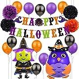 Decoración de Fiesta de Halloween Set Happy Halloween Balloons Banner, Bat, Pumpkin Ghost Foil Balloon Black Orange Globo de látex para Halloween Bar Suministros de decoración del hogar (BRUJA)