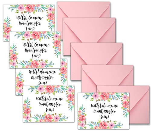 Happy Wedding Art Willst du Meine Brautjungfer Sein ? - 5X Geschenk Karte Geschenkidee Geschenkkarte Trauzeugin BrautjungferTrauzeugen Hochzeit Einladung