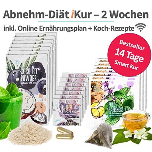 Abnehmen Diät Kur   2 Wochen   100% vegetarischer Ernährungsplan   3 Superfood Produkte & Rezepte pro Tag   Vitalität   Negative Kalorienbilanz   Fitness-Übungen   Coaching (Light Version)