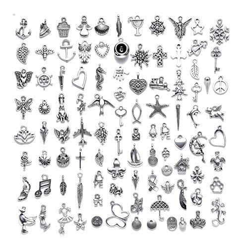 Juego de 100 colgantes de aleación para hacer joyas y collares
