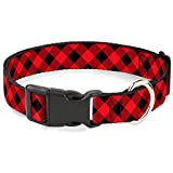 Buckle-Down Plastic Clip Collar - Diagonal Buffalo Plaid Black/Red - 1' Wide - Fits 15-26' Neck - Large