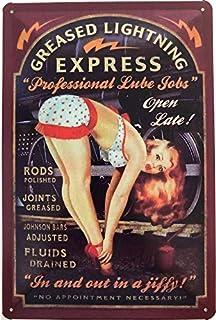 Dekorativa 7 plåtskylt 30 x 20 cm verk: Greased Lightning Express – Professional Lube Jobs – Rods Polished