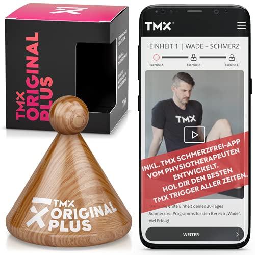 TMX ORIGINAL PLUS mit Sticky-Pad | Medizinisch zertifiziertes Massagegerät inkl. Webapp zur Triggerpunkt-Behandlung | Punktuelle Akupressur – Faszien-Therapie 2.0 | Echtholz Buche – Natur