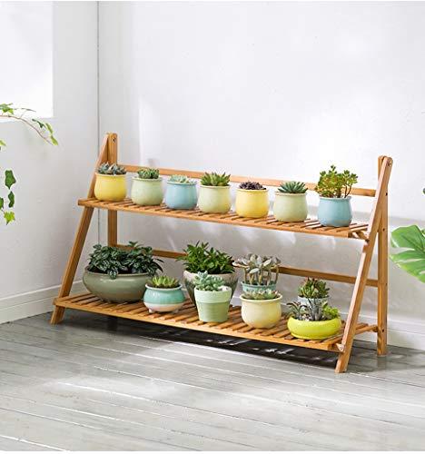 Présentoir en pot de fleur en bambou, support de fleurs se pliant à plusieurs couches Fort et robuste, facile à ranger des décorations de jardin saines et respectueuses de l'environnement,100cm
