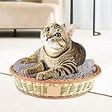 Nido de gato lavable y antideformación de forma redonda beige y marrón durante 4 estaciones