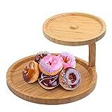 Joyeee Alzate per Dolci e Frutta, Alzatina in Bambù 2 Strati di Piatti Alzata Pasticceria Ideale per la decorazione e presentazione di Cupcake, torte di compleanno, matrimonio e feste