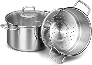 Korkmaz Perla Stainless Steel Steamer Cooking Pot Cooker Double Boiler Stack Insert with Glass Lid, 4-Quart, a1521