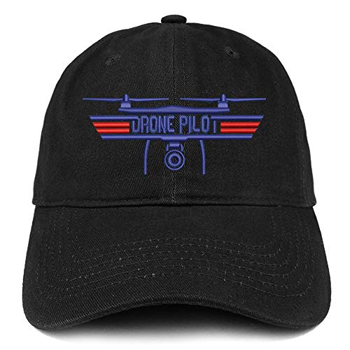Trendy Apparel Shop Drone Top Gun Pilot Embroidered Soft Crown 100% Brushed Cotton Cap - Black