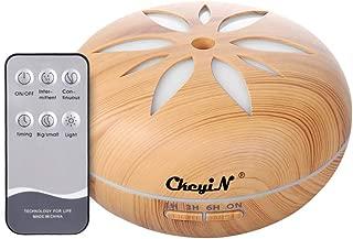 CkeyiN アロマディフューザー 加湿器 超音波 550ml大容量 リモコン付き 1/3/6時間設定 空焚き防止 七色LEDライト 噴霧量調節 除菌 空気浄化 乾燥対策 部屋 オフィス ヨガ 卓上加湿器 PSE認証 木目調