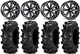 Bundle - 9 Items: MSA Black Kore 14' UTV Wheels 28' Cryptid Tires [4x110 Bolt Pattern 12mmx1.25 Lug Kit]