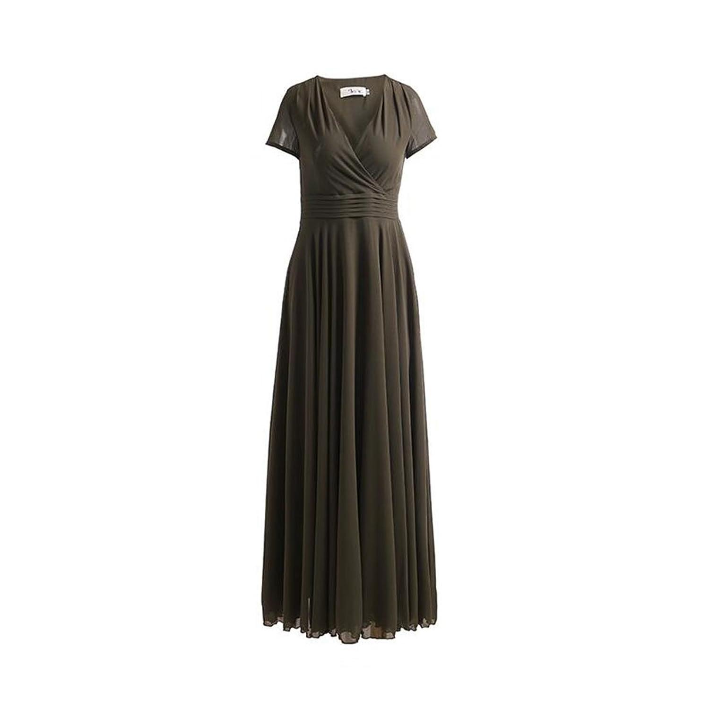 WYYY ドレス 夏の季節 ロングスカート 半袖 V襟 フラッシング スプライス グリーン セレブリティ シフォンドレス ビーチスカート (サイズ さいず : M)