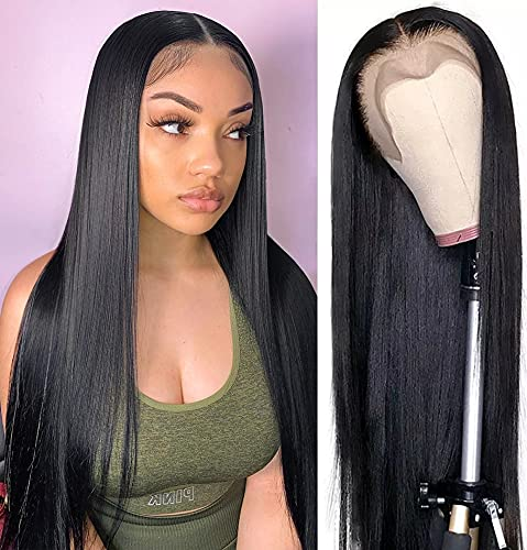 AILIF Lace Front Wigs Human Hair Straight 13x4 HD Lace Frontal Human Hair Wig Pre Plucked 150% Density Brazilian Virgin Human Hair Wigs with Baby Hair for Black Women Natural Color (20 Inch)