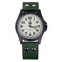 レザーストラップ付きメンズアナログクラシッククォーツ時計、メンズシンプルなクォーツ時計、レザーストラップステンレススチールケーススポーツクォーツ時計防水 (A)