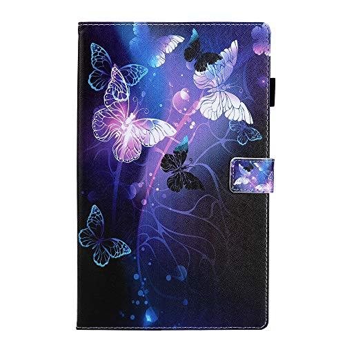 Lspcase Galaxy Tab A 8.0 2019 Hülle Mehrere Winkel Stand Schutzhülle Brieftasche Flip Cover Etui mit Stifthalter & Kartenschlitz für Samsung Galaxy Tab A 8 SM-T290 / SM-T295 Lila Schmetterling