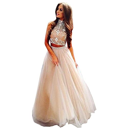 2375fd549e2 WANNISHA Women s Noble 2 Piece High Neck Embellished Bodice Tulle Ball Gown  Quinceanera Dress Prom Dress