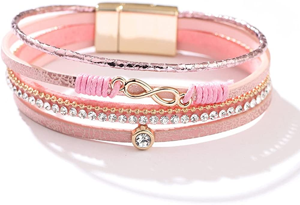 INMOFN Gold Infinity Leather Wrap Bracelet, Multilayer Wide Cuff Bracelets with Magnetic Clasp Crystals Boho Jwewelry Gift for Mom Mother Daughter Teen Girls