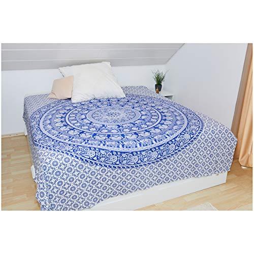 Collido Mandala Wandtuch aus Indien | 100% Baumwolle | ca. 210x220 cm | Indisches Tuch mit Elefant Motiv | Indischer Wandteppich als Wandbehang, Überwurf oder Tagesdecke für Couch/Bett in Queen Size