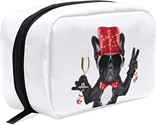 ZZAEO French Bulldog Celebrating Champagne Glass Makeup Bag Cute Printing Mini Cosmetic Case Organizer Travel Accessories Toiletry Beauty Pouch for Women Teens Girls