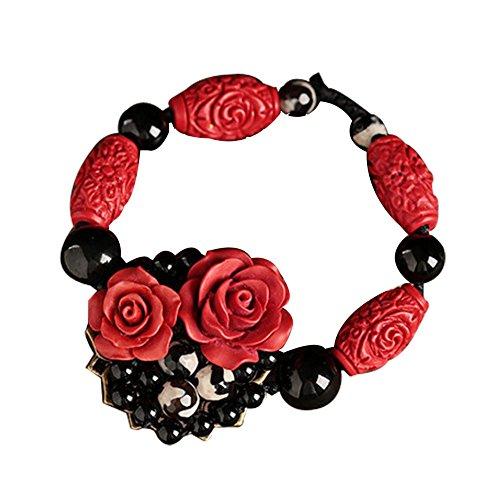 Vintage Bracelets Rose Bracelet Métal et Noir Agate Bracelets Charme 15 CM