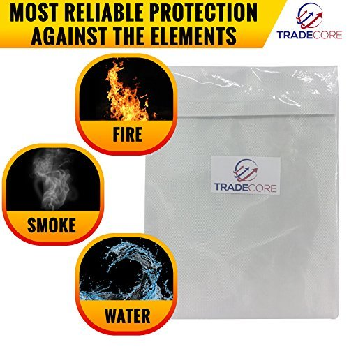 Fire Resistant Document Bag 15'' x 11'' Heavy Duty Fire Resistant Thread - Fireproof Secure Storage For Money/Passports/Legal Documents - Fire Retardant Envelope Heat Protection