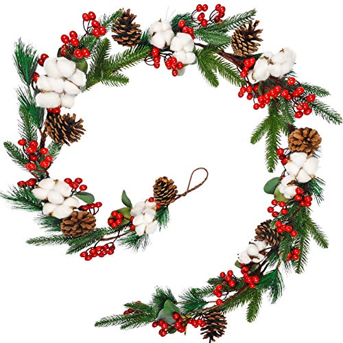 Toopify 6.4 Ft Christmas Garland with Red Berries, Fake Xmas Vines with Pinecorn and Cotton for Fireplace Mantel Christmas Outdoor Winter Home Decoration